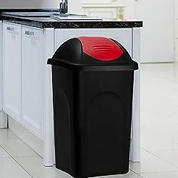 Poubelle 60 litres - Avec couvercle - Collecteur de déchets - Noir/rouge