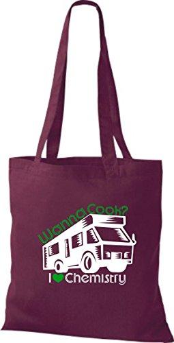 Borsa In Cotone Tote Bag In Cotone Amo La Camper Chimica Colore Rosa Vino Rosso