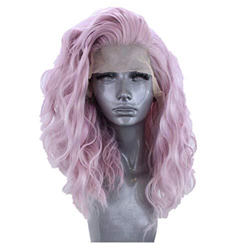 Rosennie Synthetische Perücken für Frauen Lace Front Perücke Blau Perücke Damenperücke Natural Long Wave Hair Wigs Haar Perücken Schulterlang Glatte Perücke Cosplay Party Perücke (Lila)