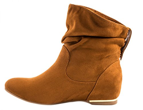 fb4da06058e9 Elara Damen Schlupfstiefel   Bequeme Klassiche Stiefeletten   Flache Boots  Camel New ...