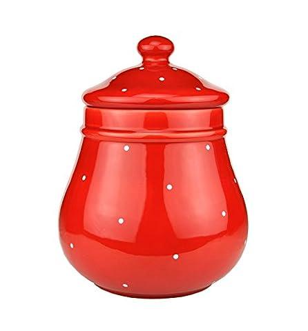 Rumtopf rot/weiß gepunktet - K250