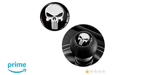 1 x 3D Gel Silicone Sticker Punisher Skull Diameter 30mm Gear Lever Shift Knob S
