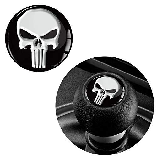 Skino 1 x Schalthebel Aufkleber Schaltknauf Emblem Silikon Sticker Punisher Skull Schädel Totenkopf Durchmesser 30mm Auto Moto Zubehör Motorrad Tuning JDM S 53