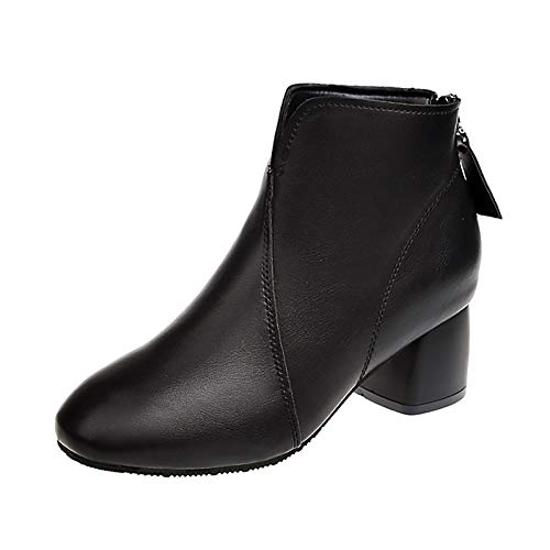 IWxez Damenmode Stiefel PU (Polyurethan) Winterstiefel Chunky Heel Square Toe Booties/Stiefeletten Schwarz, Schwarz, US7.5 / EU38 / UK5.5 / CN38 - Black Square Toe Cowboy-stiefel
