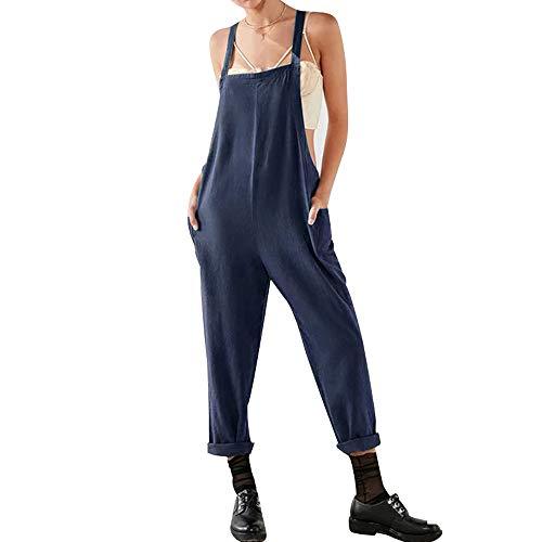 Damen Frauen Retro Latzhose Lässig Insgesamt Baggy Jumpsuits, Morbuy Leinen Taschen Playsuit Hose Lange Harem Casual Overalls Täglichen Trousers Pants (S,Marine)
