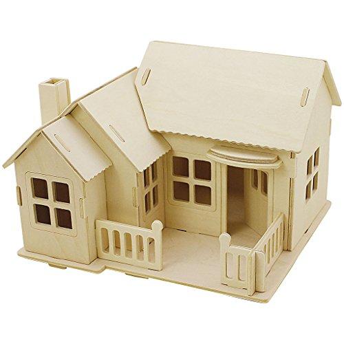 3D-Holzpuzzle, Haus mit Terrasse, Größe 19x17,5x15 , Sperrholz, 1Stck