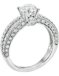 GIA Certified, Round Cut, Solitaire Diamond Ring in 14K Gold / White (1 1/2 ct, K Color, SI1 Clarity)