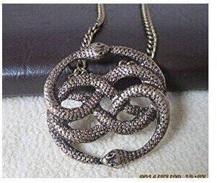 The Never Ending Story --Steampunk Vintage Stil Zwei Schlange Halskette--- Schlange Xenzia