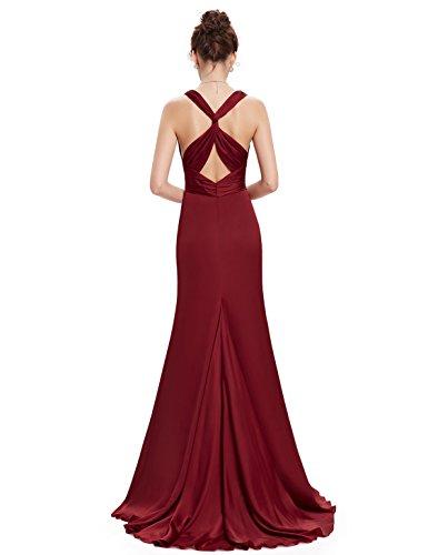 Ever Pretty Damen VAusschnitt Rueckenfrei Lange Chiffon Abendkleider 09008  Bordeux