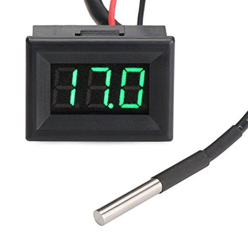 DROK® Digital-Thermometer Elektronische Temperaturüberwachung -55-125 ℃ Grüne LED-Anzeige mit DS18B20 Wasserdichtes Temperaturfühler 3 m langes Sensorkabel für Kühlschrank / Lab / Wand / Pool / Baby-Bad-Wasser / Körpertemperatur / innen & außen Nutzung