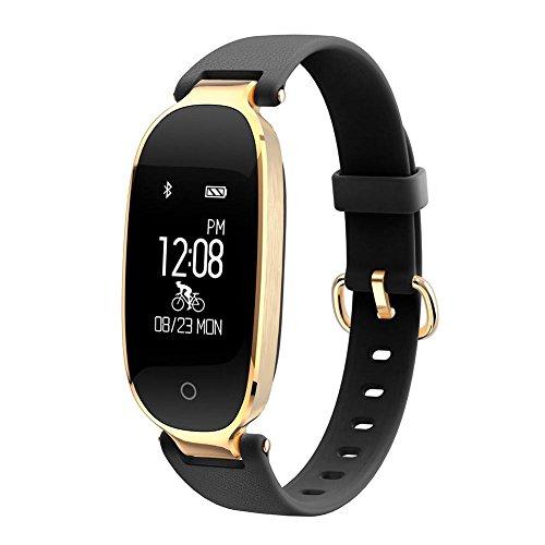 OOLIFENG Sport Fitness Tracker Smart Band Herzfrequenz-Messgerät Schrittzähler Activity Tracker Armband zum Mädchen Frau Dame Weiblich , black