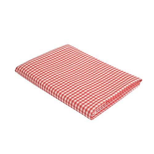"""Vaitkute 210023 Halbleinen Tischdecke """"Karo"""" 140 x 140 cm, mit Briefecken, 50% Leinen und Baumwolle, 40 Celsius waschbar, 210 g / m2, weiß / rot kariert"""