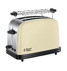 Russell Hobbs 23334-56 Toaster Colours Plus+ Classic Cream, Schnell-Toast-Technologie, Brötchenaufsatz, 1670 Watt, Creme