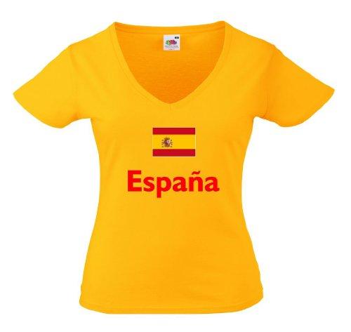 Spanien Espana Damen T-Shirt WM 2014 von XS-XXL|g-M (Spanien V-neck Fußball-herren)