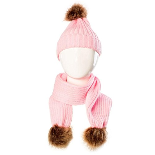 OVERDOSE Nette Baby Kids Hut Warm Strick Woolen Ball Cap Hüte Mützen + Schal Keep Warm Set (0-36 Monate, B-Pink)