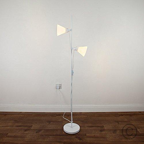 Lampadario moderno a doppio cono. Finiture in bianco. Regolabile, pratico