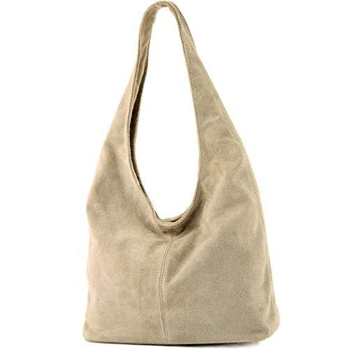 modamoda de - T150 - ital Schultertasche aus Leder Wildleder, Farbe:Sandfarben
