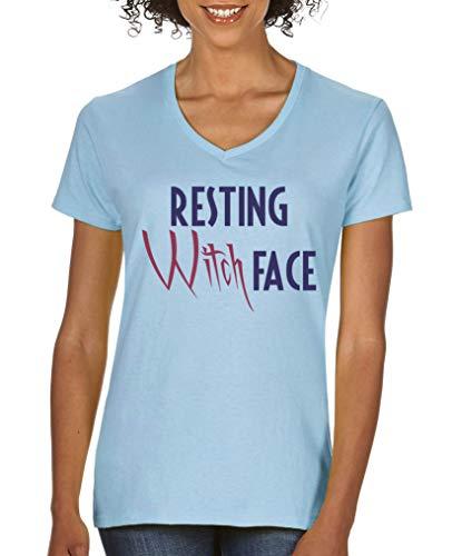 Comedy Shirts - Resting Witch face - Damen V-Neck T-Shirt - Hellblau/Lila-Fuchsia Gr. XXL