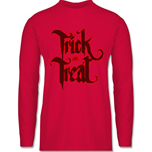 Shirtracer Halloween - Trick or Treat Halloween Typo - Herren Langarmshirt Rot