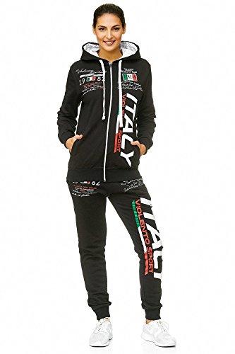 Damen Sportanzug Jogginganzug Italien 100% Baumwolle (S=Fällt Groß aus, Schwarz)