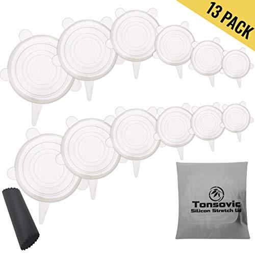Dehnbare Silikondeckel von Tonsovic  [13er Set] - Silikon Stretch Abdeckung in verschiedenen Größen - flexibel und wiederverwendbar- 100% BPA frei und Umweltfreundlich + GRATIS Knoblauchschäler