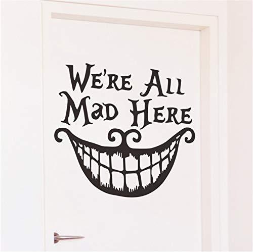 qhtqtt Wandaufkleber Halloween Decor Decals Wir Alle Verrückt Hier Vinyl Zitate Lustige Lächeln Gesicht Großen Mund Decor Poster Festival Dekoration 39X42 cm (Abc Von Punkt Zu Punkt Halloween)