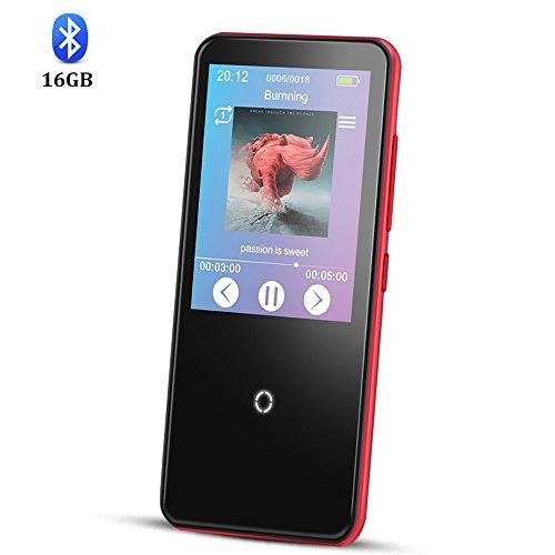 AGPTEK C10 Lettore MP3 16 GB Bluetooth 4,0 con 2,4 Pollici HD Touchscreen, Altoparlante e Radio FM, Hi-Fi Lossless Suono, Colore Rosso