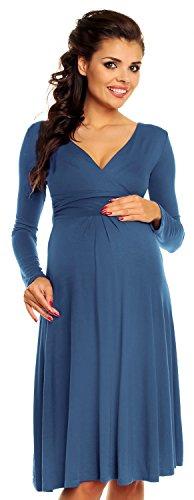 Umstandskleid Langarm - Cocktailkleid für Schwangere - 890c (Blau Jeans, EU 36, S) (Baby-dusche-cocktails)