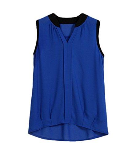 Bigood Chemise Sans Manche Femme Mousseline de Soie T-shirt Eté Blouse Top Col V Débardeur Bleu