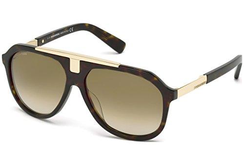 Dsquared dq0206 52p 58, occhiali da sole unisex adulto, avana scura/verde grad