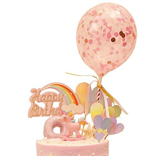DEHUB Pastel cumpleaños Decoración Pasteles, Unicornio