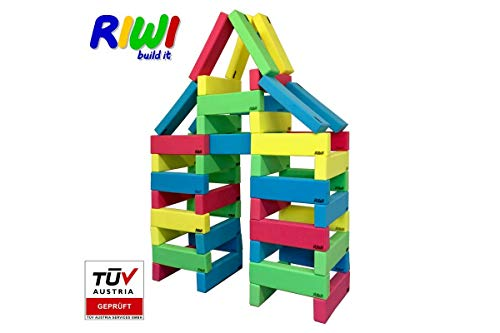 *RIWI 40er Bausteinset | XXL Schaumstoff Bausteine | große weiche Bauklötze | Waschmaschinenfest | TÜV Austria Zertifiziert*