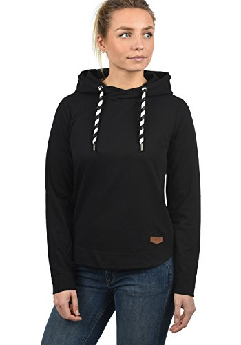 DESIRES Wandy Damen Damen Hoodie Kapuzenpullover Pullover Mit Kapuze Und Cross-Over-Kragen, Größe:S, Farbe:Black (9000)