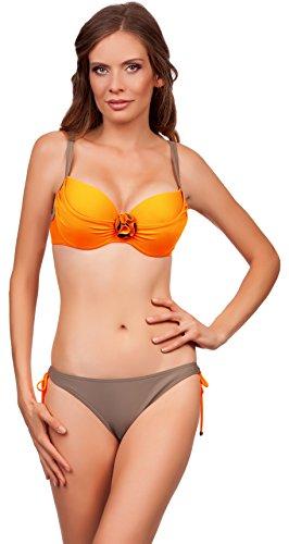Lorin Damen Bikini Neli LO5356 (Neonorange/Beige, Cup 75 D / Unterteil 38) (Geraffte Kleid Mieder)