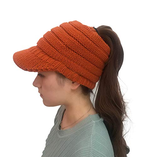 AIni Damen Wintermütze Pferdeschwanz Mütze Strickmützen Crochet Knit Hip-Hop Mütze Gestrickte Baseballmütze (Orange)