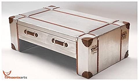 Table Basse Metal - Phoenixarts Industrie Design Table basse avec tiroirs