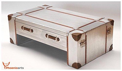 Phoenixarts-Mesa de café con cajones de estilo aluminio Industrial Retro mesa 499