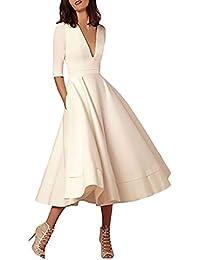 Donna Vestiti da Sera Lungo Eleganti Abiti da Cerimonia Vintage A Pieghe  Vestito da Damigella Autunno V Scollo… 7d69dbc7859