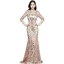 MisShow Damen Elegant Etui Meerjungfrau Abendkleider Lang Elegant Für  Hochzeit Ballkleid Abschlusskleid mit Spitze Flapper Formelle b2f49ff153