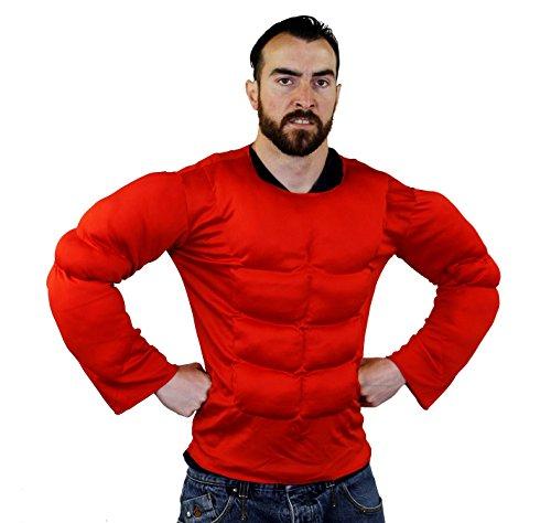 Für Robin Kostüm Erwachsene Brust Muskel - ILOVEFANCYDRESS Brust Muskel KOSTÜM IN ROT UND 2 VERSCHIEDENEN GRÖßEN SUPER FÜR Jede SUPERHELDEN VERKLEIDUNG ODER Wrestler KOSTÜM= IN DER Farbe ROT & GRÖßE XLarge