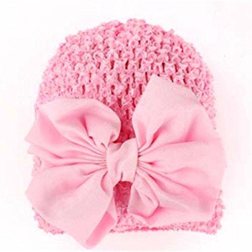 Babybekleidung Hüte & Mützen Longra Winter Baby Kinder Mädchen Warme Bowknot aushöhlen Strickmütze Mützen Wolle Hüte(0-2YEARS) (Beige) (Pink)