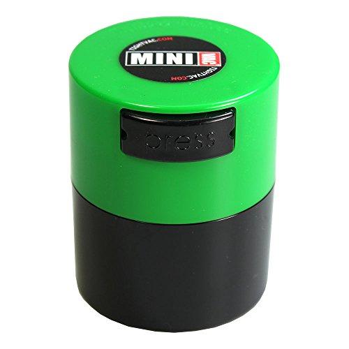 Tightpac America, Inc. MiniVac-10g bis 30Gramm luftdicht Multi Vakuum Seal tragbarer Container für trockene Waren, Lebensmittel, und Kräuter, Plastik, Green Cap Black Body.12-Liter/4-Fluid Ounce (Kraut Vakuum)