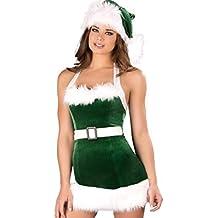 4812f9c52c2fc Sexy Femme Noël Costume Santa Robe Jeu De Rôle Elf Vert