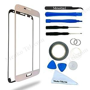 Samsung Galaxy S5 mini SM G800 Display Touchscreen Frontglas mit Werkzeug-Set zum Wechsel des Frontglases Inkl Pre Cut Sticker/ Pinzette / Rolle 2mm Klebeband / Saugnapf / Draht / Mikrofasertuch MMOBIEL
