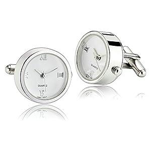 AnazoZ Schmuck Edelstahl Herren Manschettenknöpfe Armbanduhr Weiß, Manschetten Knöpfe für Männer