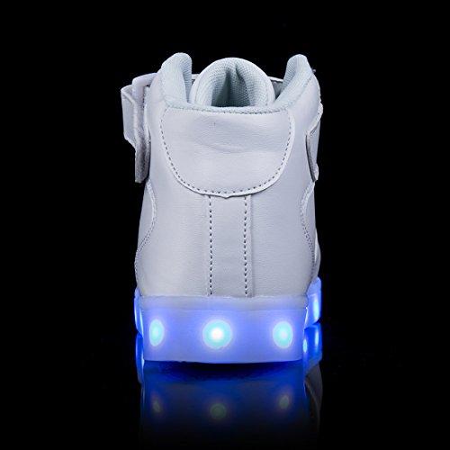 AFFINEST Haut-dessus chargement USB LED chaussures clignotant chaussures de sport pour les enfants Blanc
