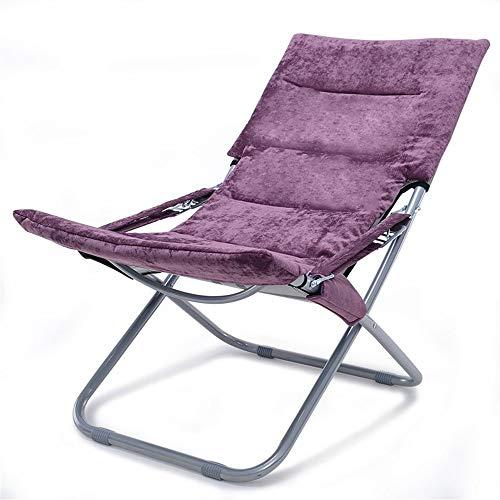 LOUNGER Bequemer Patio Chair Tragbarer Klappstuhl Verstellbare Liege mit Kissen Outdoor-Gartenstühle mit Baumwolle Multifunktions-Liegestuhl (Color : Purple, Size : 54 * 40 * 77cm)