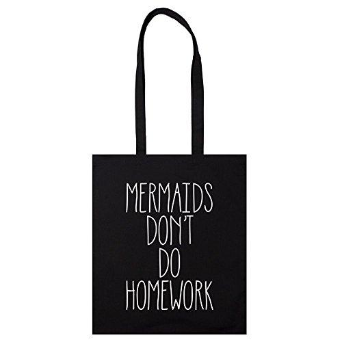 Meerjungfrauen Dont Do Hausaufgaben Tasche Handtasche Leinwand Tumblr schwarz