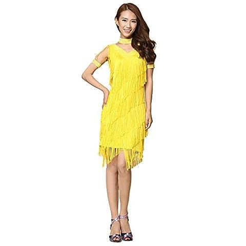 FaithYoo Damen Schößchen Kleid Gr. xl, Gelb - Gelb (Couture Kostüm Tanzkleidung)
