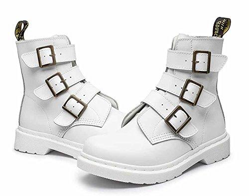 Pelle Martin Boots Donne Caricamenti Del Sistema Rotondi Di New England Di Autunno Stivali Dellinarcamento Di Modo Nero Bianco Rosso White
